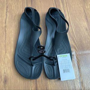 Crocs Sexi Flip Flop Black Sandals size 10